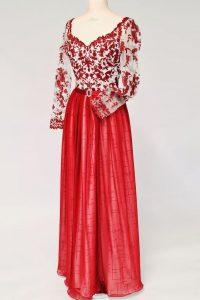 3Kirschrotes Kleid Oberteil mit Spitze und wahleise Spitzenärmel