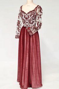 3weinrotes Kleid Oberteil Spitze und wahlweise Ärmel